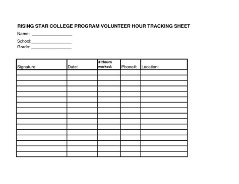 volunteer chart template volunteer hours log sheet template teaching
