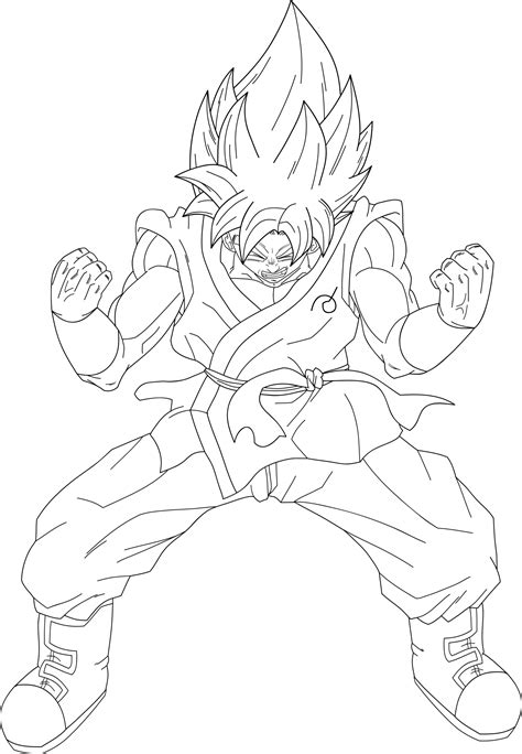 ssgss goku coloring pages goku ssjblue kaioken lineart by dragonballaffinity on