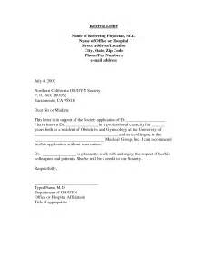 Patient Referral Letter Exle Best Photos Of Professional Letter Templates Of Md Business Letter Template Word