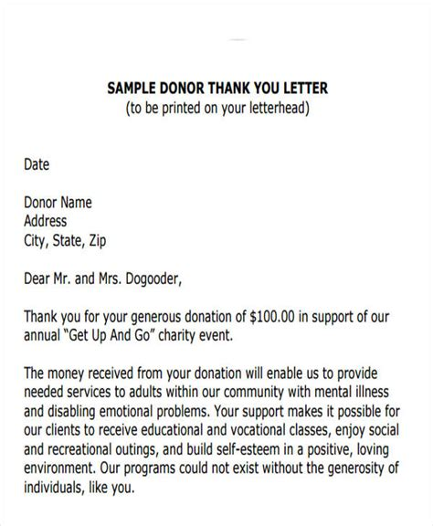charity event thank you letter template thank you letter format free premium templates