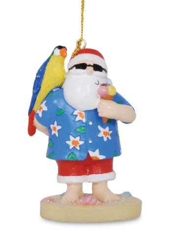 coastal tropical beachy santa with parrot resin christmas