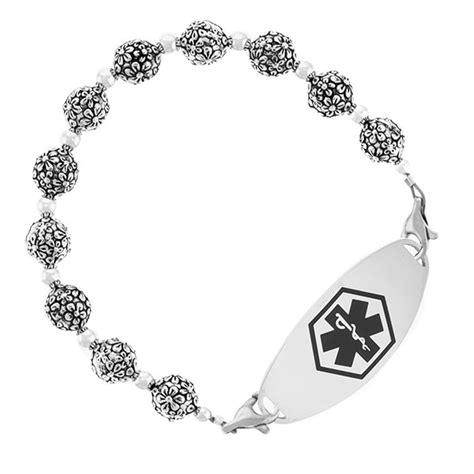Flower Blossom Bracelet seven inch silver flower blossom womens beaded bracelet