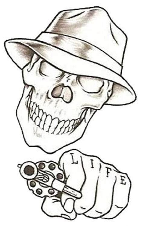 simple skull tattoo designs easy drawings beginners prison stick skull