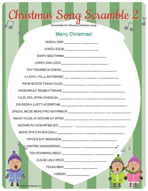 free printable christmas games for the classroom christmas song scramble for classroom activity or game