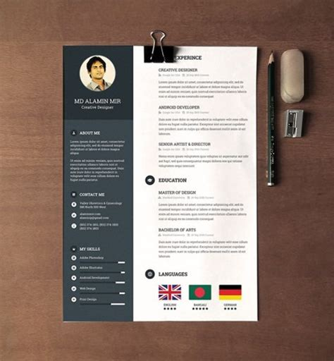 28 Minimal Creative Resume Templates Psd Word Ai Free Download Premium Templateflip Creative Word Resume Templates Free