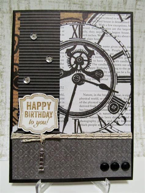 Handmade Masculine Birthday Cards - savvy handmade cards masculine clock birthday card