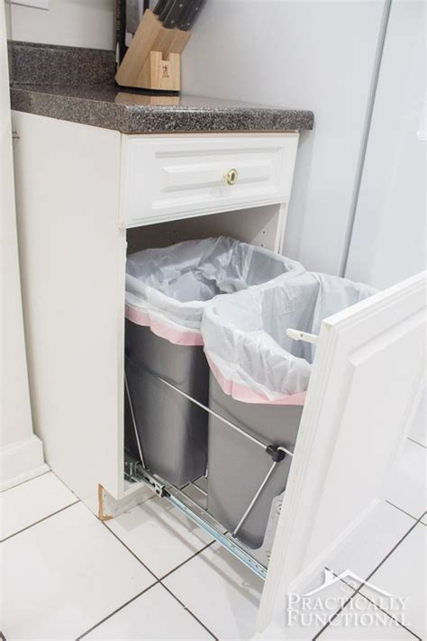hidden trash can cabinet 47 smart ways to hide mess and household eyesores digsdigs