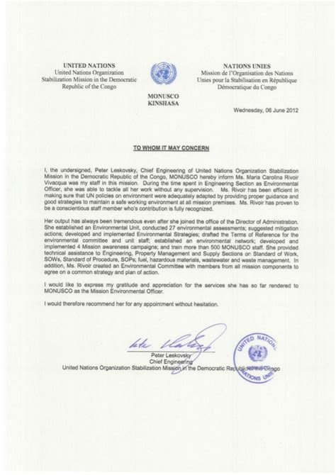 un appreciation letter un monusco eng letter of appreciation