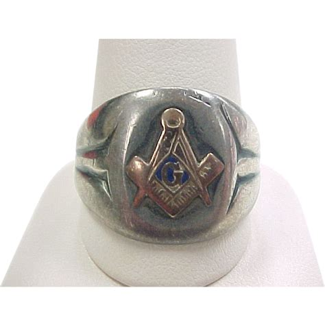 vintage masonic ring sterling silver 10k gold from