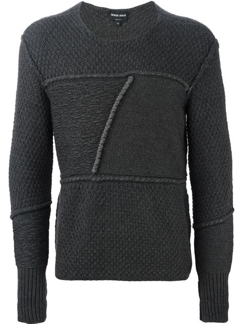 Patchwork Sweater - giorgio armani patchwork sweater in gray for lyst