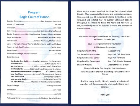 eagle scout program template eagle scout court of honor ideas eagle court of honor