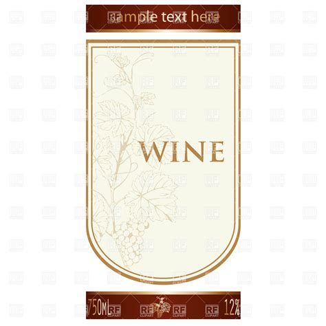 template of wine label with vine and bunch of grapes