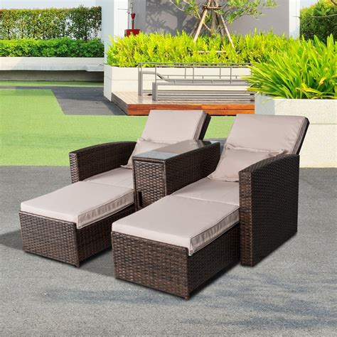 outsunny rattan lounge set 3 pcs sofa wicker chaise chair