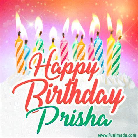 happy birthday gif  prisha  birthday cake  lit candles   funimadacom