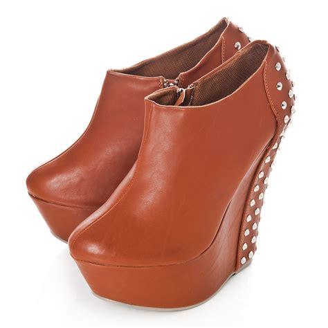 platform slim wedge high heel studded ankle shoe boot