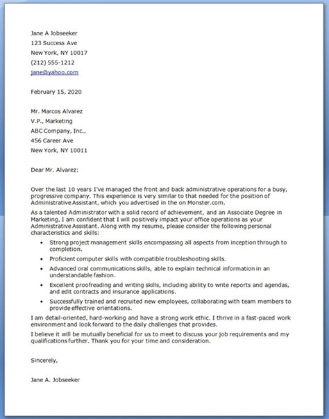 cover letter exle for administration administrative assistant cover letter exles