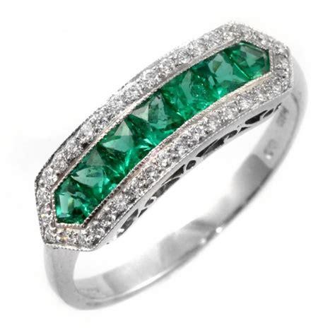 platinum emerald eternity deco style ring