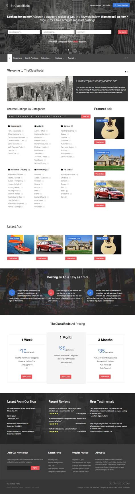 joomla template listing theclassifieds joomla template for ads listings directory