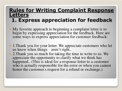 Complaint Response Letter Writing 4 For Writing Complaint Response Letters Reply And Response Letters Letter Sle