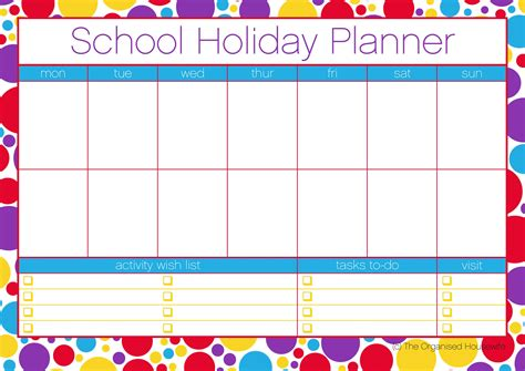 free printable school holiday planner the organised