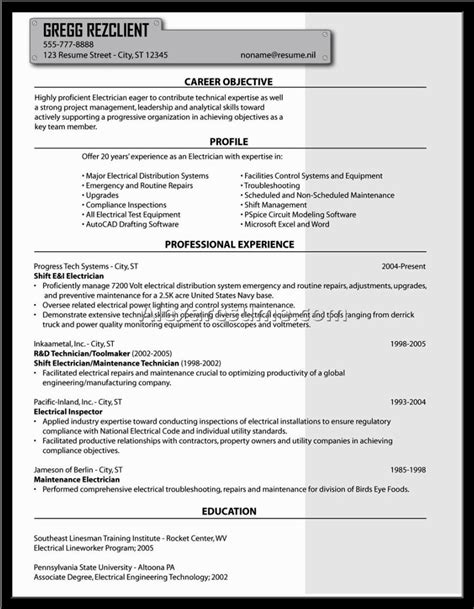 Journeyman Electrician Description by Electrician Description And Responsibilities Experience Resumes