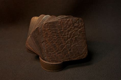 Buffalo Leather by Square Buffalo Leather Coasters Made In America