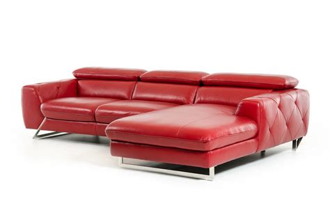 modern red leather couch divani casa devon modern red leather sectional sofa