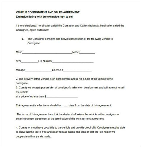 sale or return agreement template 15 consignment agreement sles and templates pdf word