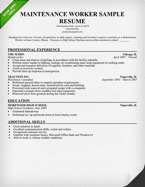 Sample Janitorial Resume by Professional Janitor Resume Sample Resume Genius