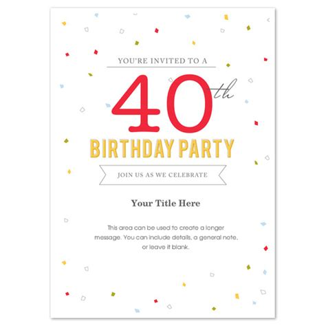 free 40th birthday invitation templates 40th birthday invitation template word