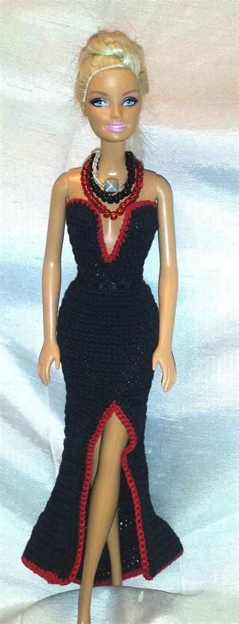 Crochet Evening Gown crochet clothes fashion doll dress black with