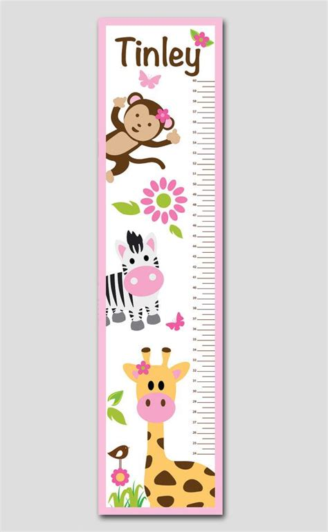 printable animal height chart personalized pink jungle animal growth chart vinyl print