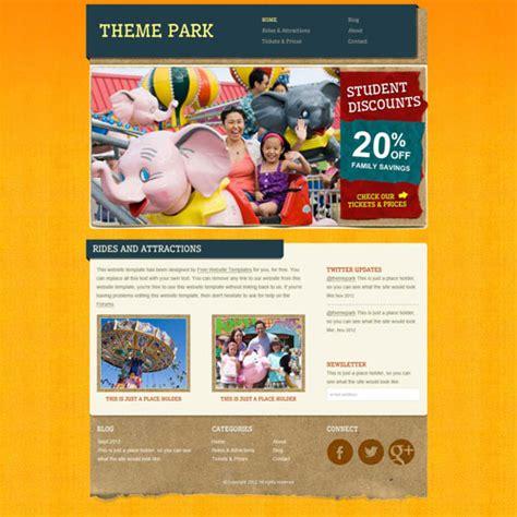 park template amusement park website template free website templates
