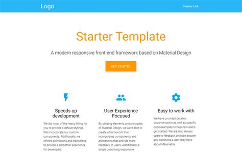 html starter template 30 material design html5 templates available for