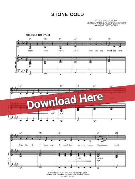 easy demi lovato songs to play on piano demi lovato stone cold sheet music piano notes chords