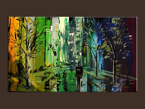 unique painting cityscape print blue green autumn abstract giclle from an