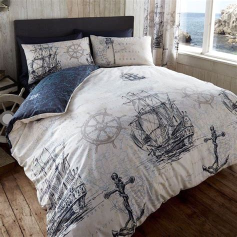 anchor bedding set vintage ocean voyage duvet cover reversible nautical