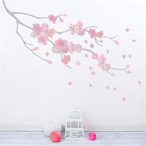 Cherry Blossom Wall Sticker children s cherry blossom branch fabric wall sticker by