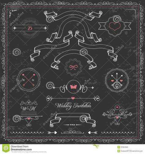 Design Elements, Chalkboard Wedding Invitation, Stock Vector   Image: 37054900