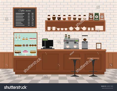 coffee shop flat design coffee shop interior flat design vector stock vector