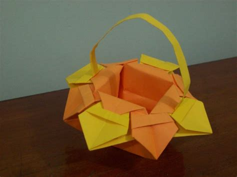 Origami Basket - origami flower basket by craft lover on deviantart