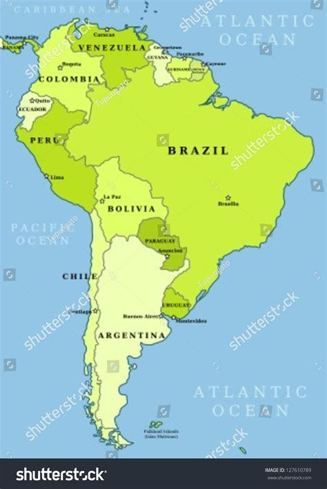 american map with countries and capitals map south america political division countries stock