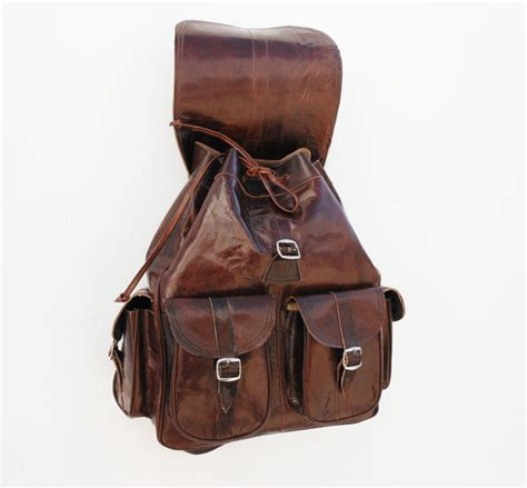 Handmade Backpack - brown leather backpack satchel bag handmade by noussabags