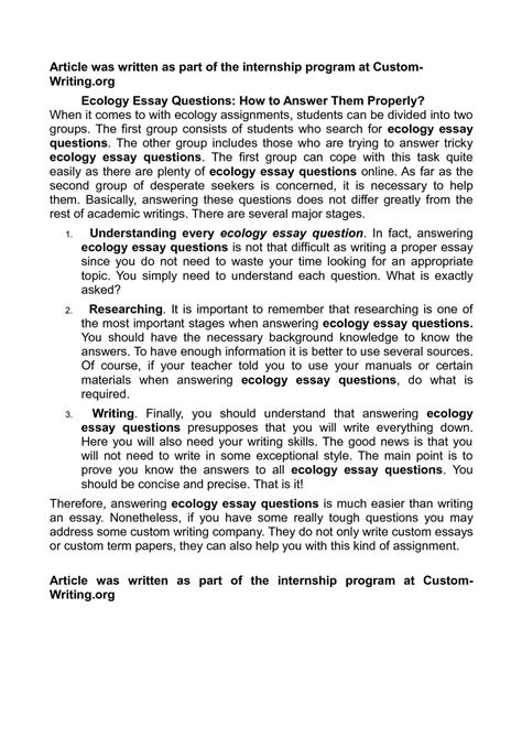 Ecology Essay by Calam 233 O Ecology Essay Questions How To Answer Them Properly
