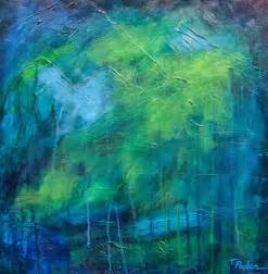 california artwork blue and green abstract painting with texture by theresa paden