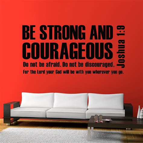 bible verse wall stickers mix wholesale order joshua 1 9 be strong and courageous bible verse scripture wall sticker quote