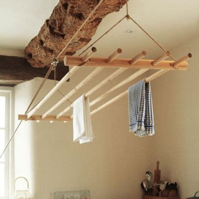 pulley ceiling laundry rack for the home