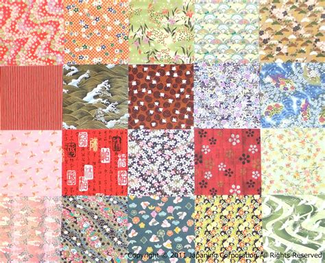 Handmade Origami Paper - set of 20 assorted kimono design origami papers yuzen