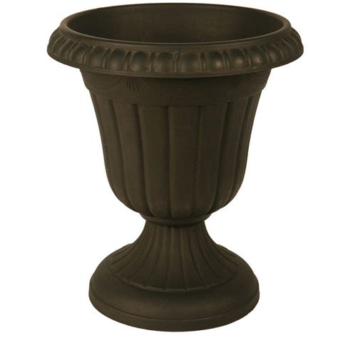Arcadia Garden Products Traditional 16 In X 18 In Black Plastic Urn Planters