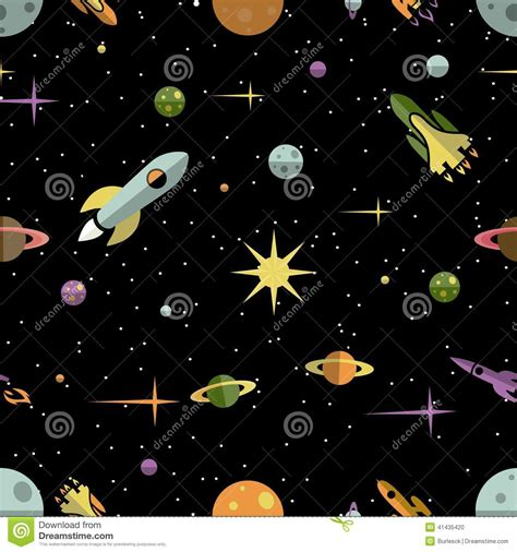 background pattern space seamless pattern with planets rockets and stars stock